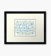 Don't Let the Bastards Grind You Down - Blue Floral Framed Print