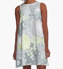 Scattered Paper-cut Effect Florals Pattern on Grey A-Line Dress