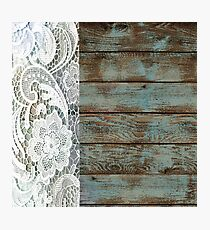Western Country distressed blue Barn Wood white Lace Photographic Print