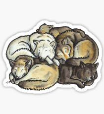Sleeping pile of grey wolves Sticker