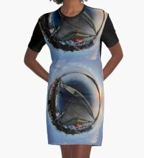 Foyle Marina at Dawn, Stereographic Graphic T-Shirt Dress