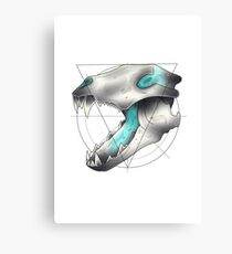 Neotraditional Wolf Skull Canvas Print