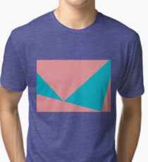 Abstract composition of blue and pink paper Tri-blend T-Shirt