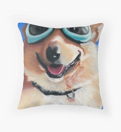 Corgi in Goggles Throw Pillow