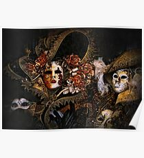 Venice Carnival masquerade, Baroque masks Poster