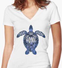 OCEAN OMEGA (VARIANT 3) Women's Fitted V-Neck T-Shirt