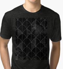 Mermaid scales. Black and white watercolor. Tri-blend T-Shirt