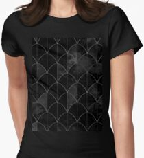 Mermaid scales. Black and white watercolor. Womens Fitted T-Shirt