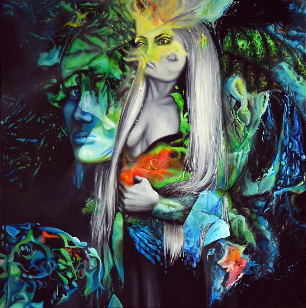 You wear a thousand faces, 100-100cm, 2017, oil on canvas by oanaunciuleanu
