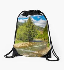 Rapid stream in green forest Drawstring Bag