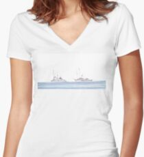 Boats on the Water Women's Fitted V-Neck T-Shirt