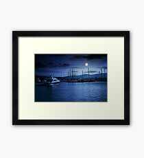yacht at the pier  at night Framed Print