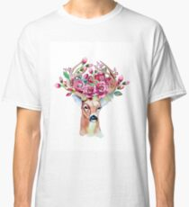 Shy watercolor floral deer Classic T-Shirt