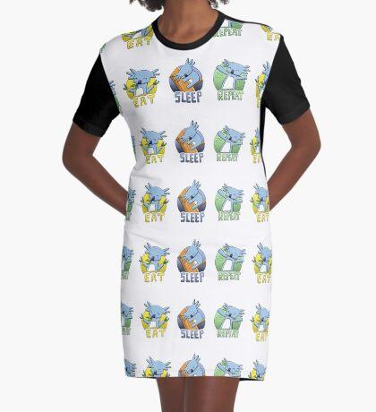 Cute Koala - Eat Sleep Repeat Graphic T-Shirt Dress