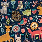 Forest friends - navy by peggieprints