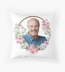 Dr. Phil - Blue Flower Frame Throw Pillow