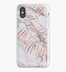 Rose gold palm fronds on marble iPhone Case/Skin