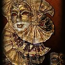 Venetian beautiful golden mask with musical notes decorations by gameover