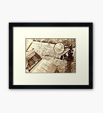 An old map and magnifier lens Framed Print