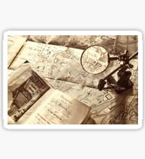An old map and magnifier lens Sticker
