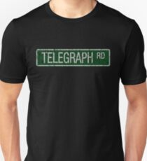 Telegraph Road green and  white street sign cracked T-Shirt