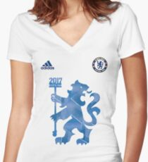 Chelsea Champions English Premier League 2017 Women's Fitted V-Neck T-Shirt