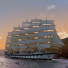 Clipper ship at dawn  by Nancy Richard