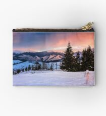 red winter sunset in mountains Studio Pouch