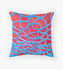 Red and Turquoise Maze Throw Pillow