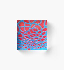 Red and Turquoise Maze Acrylic Block