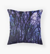 Dark Purple Forest Throw Pillow
