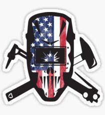 Welder Mask American Flag  Sticker