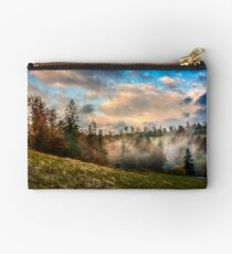 evening fog in forest on the hill Studio Pouch