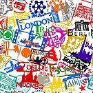 Travel Destination Passport Stamp Pattern by pda1986