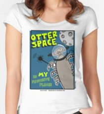 Octo Otter Space Comic Robot Super Hero Design Women's Fitted Scoop T-Shirt