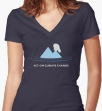 Act On Climate Change Women's Fitted V-Neck T-Shirt