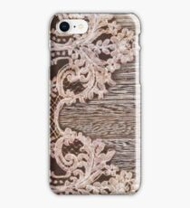 rustic Western Country Farmhouse Chic Barn Wood Lace iPhone Case/Skin