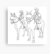 London Metropolitan Horse Cops - Black and White Canvas Print