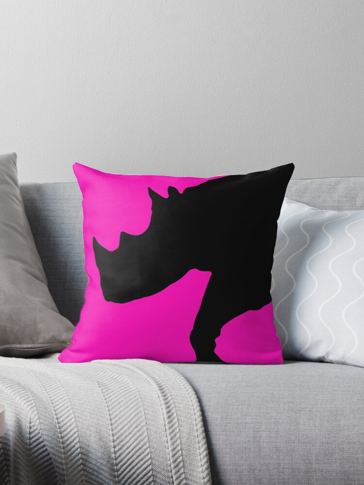 Neon pink black rhino silhouette by artisticattitud