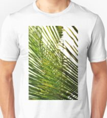 coconut leaves blades sky view on yellow green T-Shirt