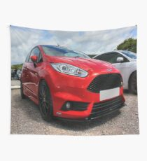 Red Fiesta ST on IOW Wall Tapestry
