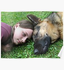 DOG AND GIRL PORTRAIT Poster