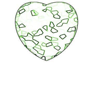 Stylised Green & White Heart by neekos