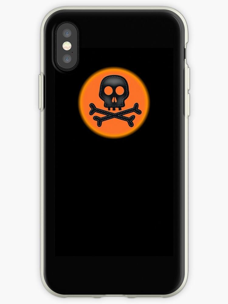 Black neon orange skull crossbones phone case by artisticattitud