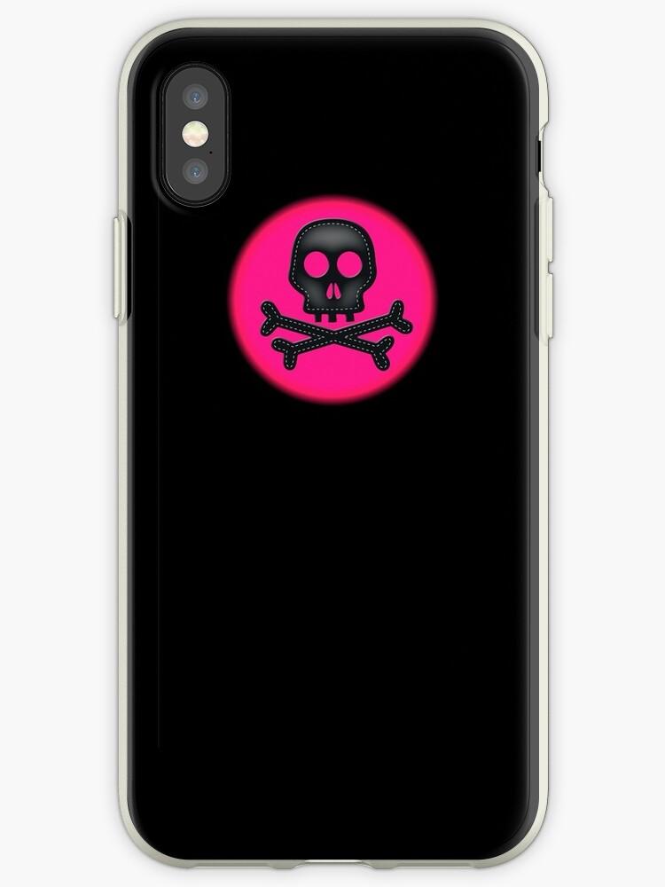 Pink black skull crossbones simple phone case by artisticattitud