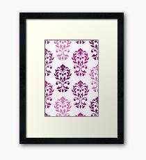 Heart Damask Art I Pinks Plums White Framed Print