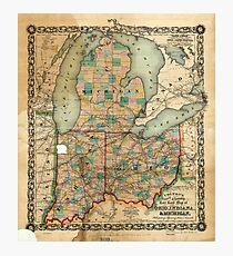 Map of Ohio, Indiana & Michigan (1859) Photographic Print