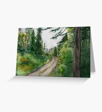 Watercolor Forest Painting Greeting Card