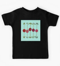 Garden Flowers Illustration in Reds & Pinks on Blue Kids Tee
