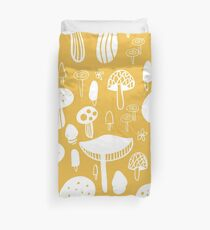 Forest Mushrooms Yellow print Duvet Cover